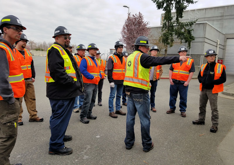 John McMillin, King County safety officer, provides safety training to an Operator in Training (OIT) class. Photo courtesy of the King County Wastewater Treatment Division.