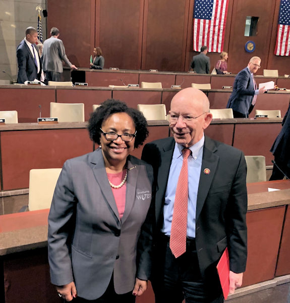 Angela Lee, director of Charlotte (N.C.) Water, stands with U.S. Rep. Peter Anthony DeFazio (D–Ore.), ranking member of the U.S. House of Representatives Transportation and Infrastructure Committee. Water Environment Federation (WEF; Alexandria, Va.) photo/Steve Dye.