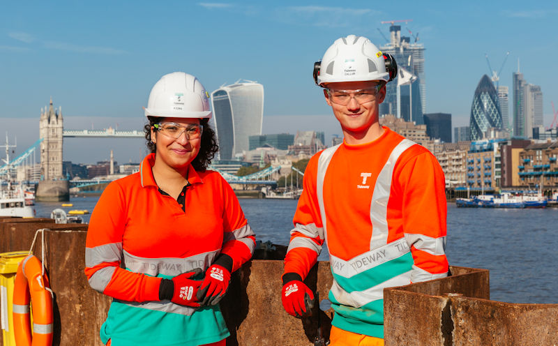 Tideway (London) is filling 1 in 50 jobs with apprentices. Fiona Keenaghan and Callum Davis are both members of the Thames Tideway Tunnel apprenticeship program. Photo courtesy of Tideway.