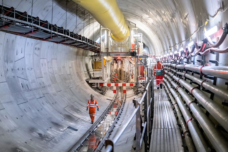 "Employees at the Kirtling Street site work on the Thames Tideway Tunnel. The new ""super sewer"" will intercept, store, and transfer wastewater that overflows into River Thames. Photo courtesy of Tideway."